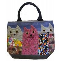 Beautiful Handmade Three Cat Applique Shoulder Bag / Hand Bag - Fair Trade