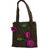 Fair Trade Hand Made Lovely Tactile Ecletic / Quirky Felt Flower Shoulder Bag