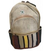 Genuine Himalayan Hemp Backpack/Rucksack / College Bag - Handmade in Nepal - Colourful - THC Free Fair Trade