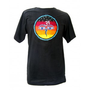 Fair Trade Embroidered Classic Kathmandu T Shirt ( Black T Shirt)