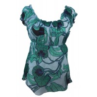 Lovely Blue / Green Floaty Bold Floral Print Emily Blouse -  On the shoulder or off the Shoulder - Fair Trade 100% Cotton