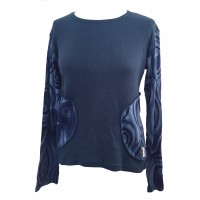 Fair Trade Blue Jersey Cotton Retro Spiral Ladies Long Sleeve Top