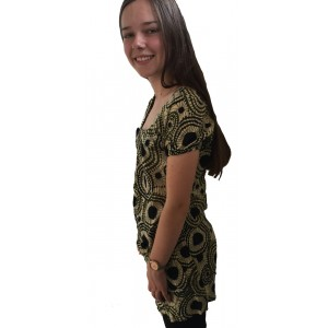 Bold Geometric  Print Olive Lulu Blouse - Fair Trade 100% Cotton