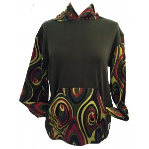 Fair Trade Green Jersey Cotton Retro Spiral Ladies Hoodie