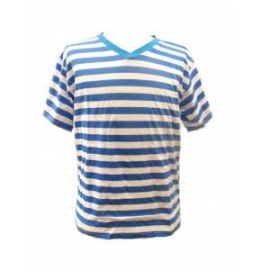 Fair Trade 100% Cotton Classic Stripey Blue / White Mens T Shirt