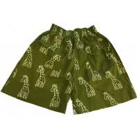Kids Olive Green Classic Giraffe Design Shorts Ages 1 - 5 - Fair Trade