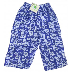 Kids Colourful Cotton Elasticated Children's Blue Ocean Print Trousers - Fair Trade