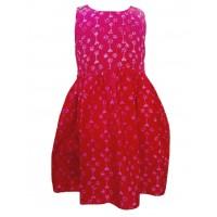 100% Cotton Classic Pink Heart Print Emily Little Girls Dress - Fair Trade