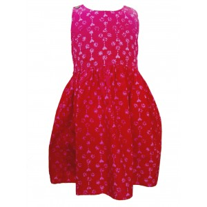100% Cotton Classic Pink Heart Print Emily Little Girls Dress - Fair Trade