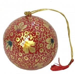Large Kashmiri  Lacquerware Bauble Christmas Tree Decoration - Beautiful Fair Trade Handpainted
