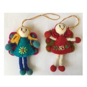 Lovely Handmade Felt Angel / Fairy Christmas Tree Decorations - Set of 2 - Fair Trade