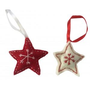 Fair Trade Felt Red & White Star Christmas Decorations - Set of 2
