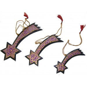 Set of 3 Classic Kashmiri Shooting Stars Christmas Tree Decorations - Fair Trade