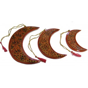 Set of 3 Classic Kashmiri red and Gold Crescent Moon Christmas Tree Decorations - Fair Trade