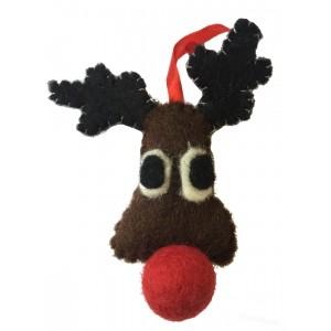 Cute Fair Trade Felt Rudolph Christmas Decoration