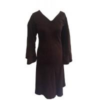 Chocolate Brown Vintage Velvet V Neck Party Dress - Fair Trade