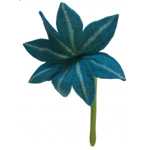 Beautiful handmade large blue chrysanthemum felt flower - fair trade