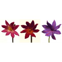 Beautiful handmade set of 3 mixed medium chrysanthemum felt flowers - fair trade