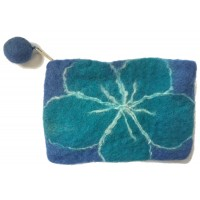 Small Felt Flower purse - Handmade - 100% wool - various colours - Fairtrade