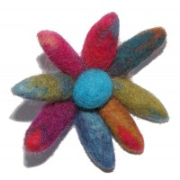 Hand made Large Felt Chrysanthemum Flower Brooch - Fair Trade