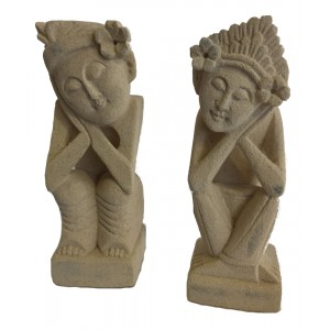 Pair of Sandstone Balinese Dreamer Statues - Fair Trade