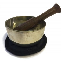 Beginners Boxed Brass Sing Bowl Set, contains 90 mm Brass Bowl, Simple Wooden Stick and Mat - Fair Trade