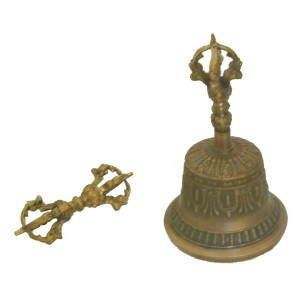 Hand Cast Tibetan Buddhist Temple Bell and Dorje (Vajra) Set  traditionally made around the monastries of Nepal.