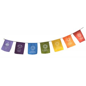 Multicoloured Sacred Chakra Meditation Prayer Flags - Hand Made in Bali - Fair Trade