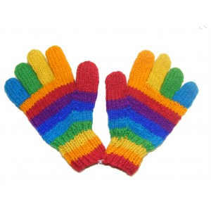Fair Trade Handknitted Woollen Multicoloured Rainbow Gloves from Kathmandu