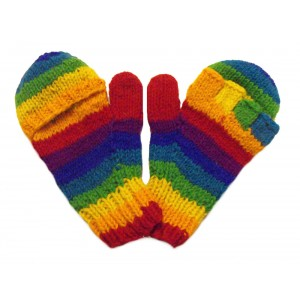 Fair Trade Handknitted Woollen Rainbow Fingerless Gloves with mitten cover