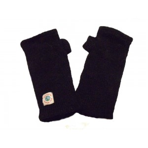 Hand knitted Fleece Lined Fair Trade 100% Wool Black Wrist Warmers / Arm Warmers (Wristies)