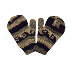 Fair Trade Handknitted Woollen Black & White Tibetan Design Fingerless Gloves with mitten cover