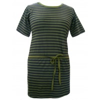 100% Cotton Classic Black & Green Stripey Dress - Fair Trade