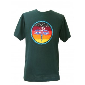 Fair Trade Embroidered Classic Kathmandu T Shirt ( Green T Shirt)