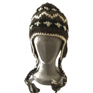 Black, White & Brown Traditional Tibetan Design Earflap Hat