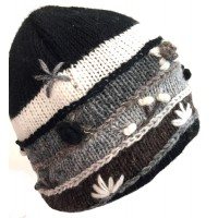 Black & White Hand Embroidered Hand Knit Wool Beanie Hat - Fair Trade - Fleece Lined Toasty Warm