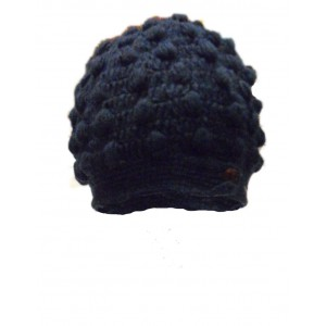 Fair Trade New Style Navy Blue Bobbly Bobble Hat - Fleece lined - Hand Knitted - 100% Fairtrade Wool
