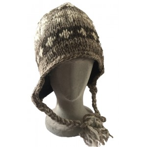 Brown Grey and White Traditional Tibetan Design Earflap Hat