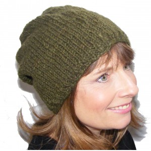 Cool Handknitted Woollen Khaki Green Slouch Beanie Hat with fleece lining ideal for skaters and snowboarders