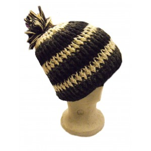 Black and White Striped Bobble Hat - Fleece lined - Hand Knitted - 100% Fairtrade Wool