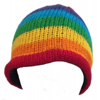 Rainbow Hand Knit Wool Beanie Hat - Fair Trade - Fleece Lined Toasty Warm