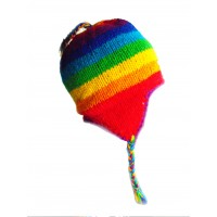 Hand Knit Wool Children's Rainbow Earflap Hat