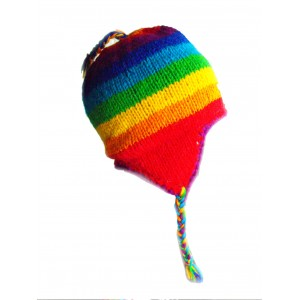 Hand Knit Wool Adult Rainbow Earflap Hat