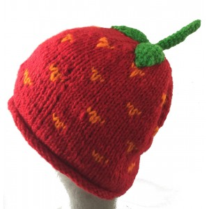 Strawberry Winter Hat - Fun & Quirky - Fleece lined for extra warmth and comfort
