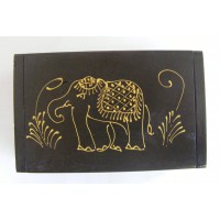 Teak Box with Hand Drawn Golden Elephant Design - Fair Trade