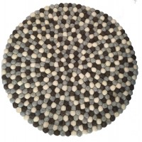 Beautiful Handmade Tactile Felt Natural Colour Ball Rug from Nepal - 60 cm diameter- 100% Wool - Fair Trade