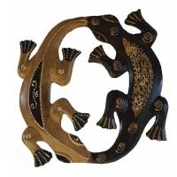 Pair of Playful Hand Painted Wooden Balinese Geckos - Fair Trade