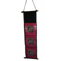 Thai Pink Sequined Elephant Letter Holder/ Banner - Fair Trade