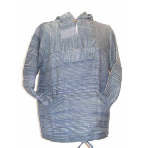 Handspun Cotton Nepalese Baja Jerga Style Hoodie - Blue / Green Stripes - Fair Trade