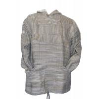 Handspun Cotton Nepalese Baja Jerga Style Hoodie - Green / White Stripes - Fair Trade